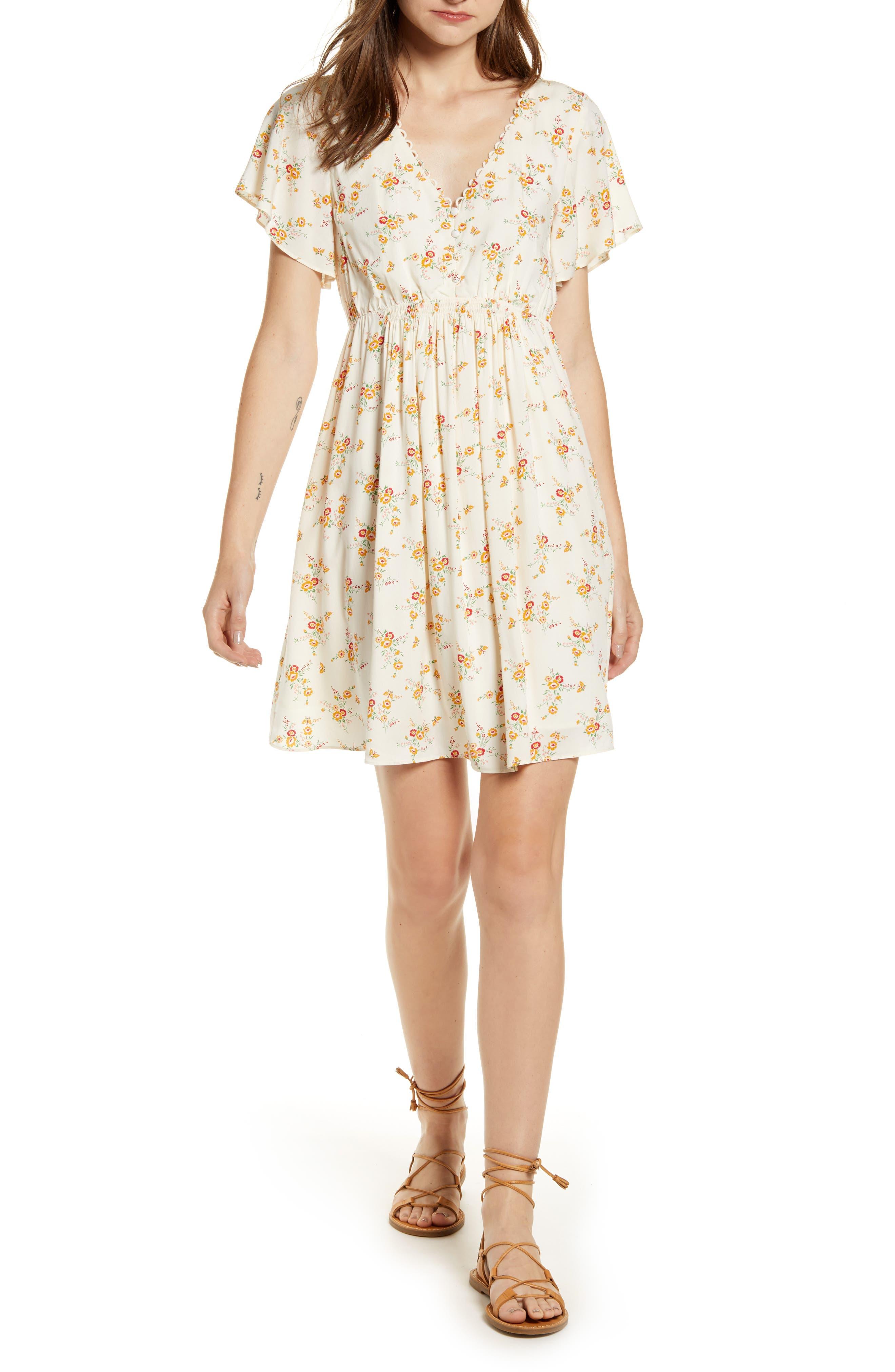 Madewell Floral Loop Trim Minidress, Ivory