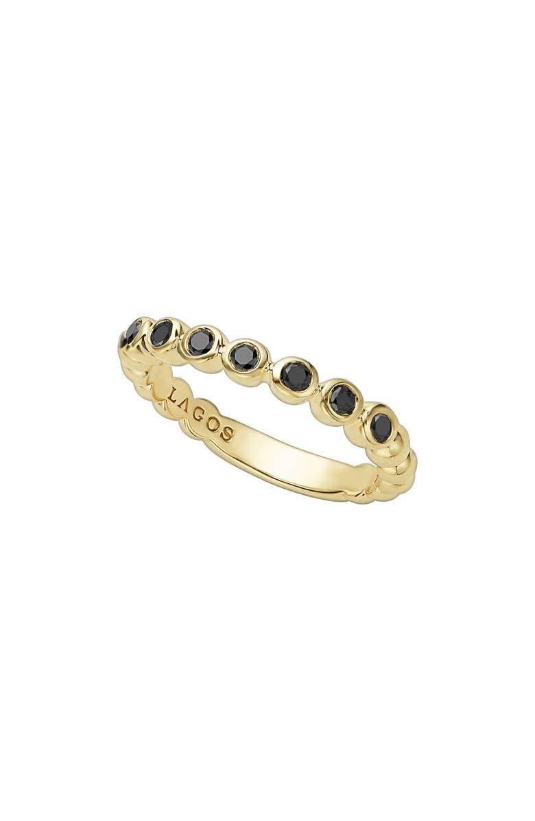 LAGOS Black Diamond Caviar Stacking Ring, Main, color, GOLD