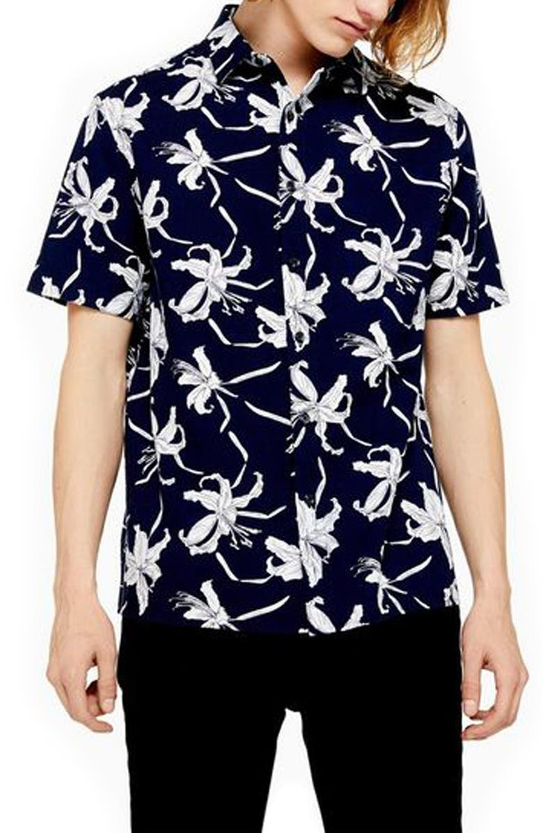 TOPMAN Skinny Fit Floral Shirt, Main, color, NAVY BLUE MULTI