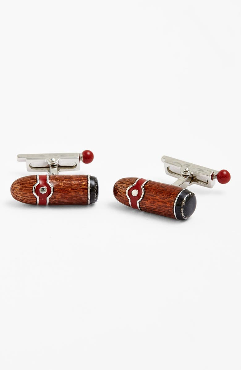 LINK UP Cigar & Match Cuff Links, Main, color, SILVER/ BROWN/ RED