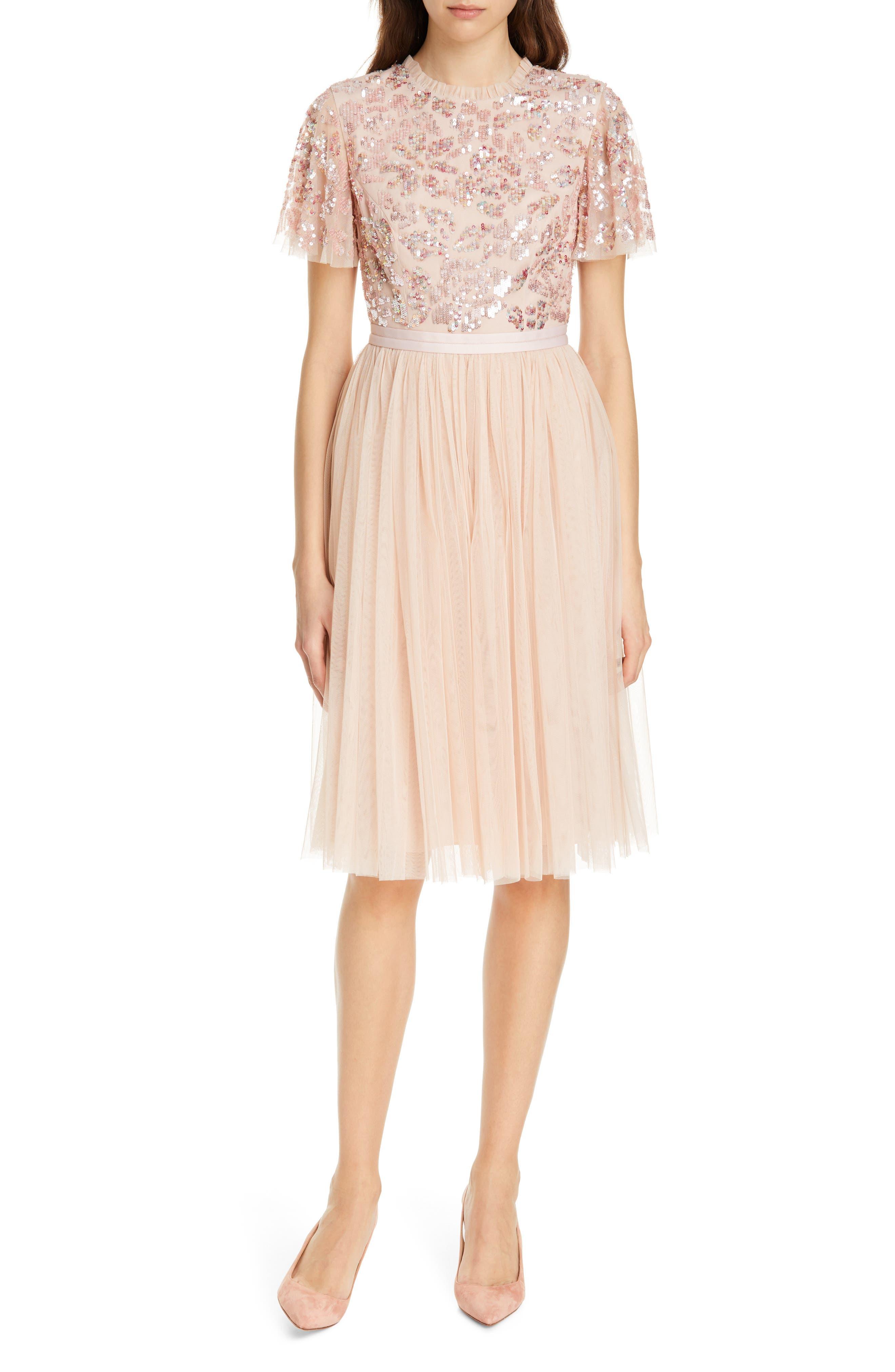 Needle & Thread Dream Rose A-Line Dress, Pink