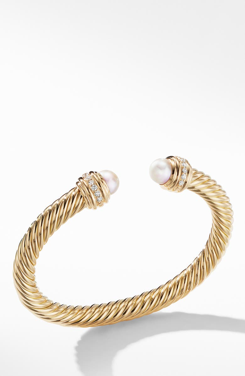 DAVID YURMAN Cable Bracelet in 18K Gold with Diamonds, Main, color, YELLOW GOLD/ DIAMOND/ PEARL