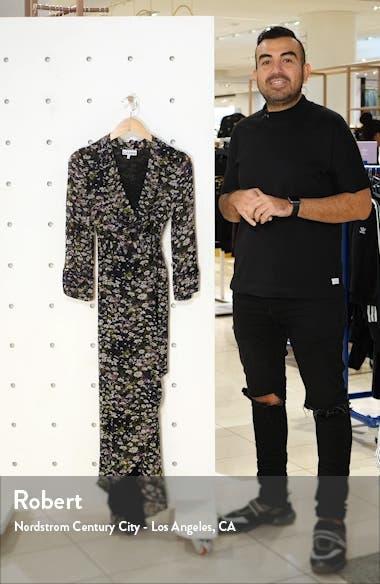 Floral Print Georgette Midi Wrap Dress, sales video thumbnail
