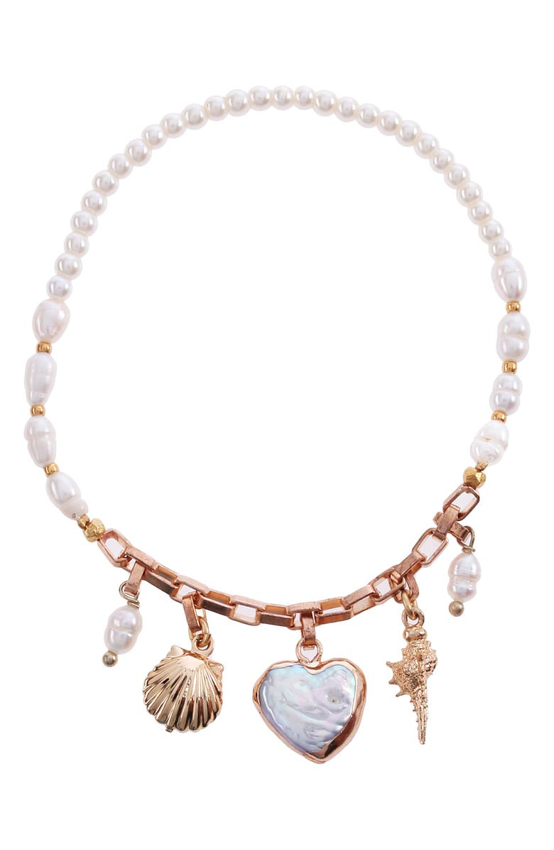 NAKAMOL CHICAGO Pearl Mix Charm Bracelet, Main, color, WHITE