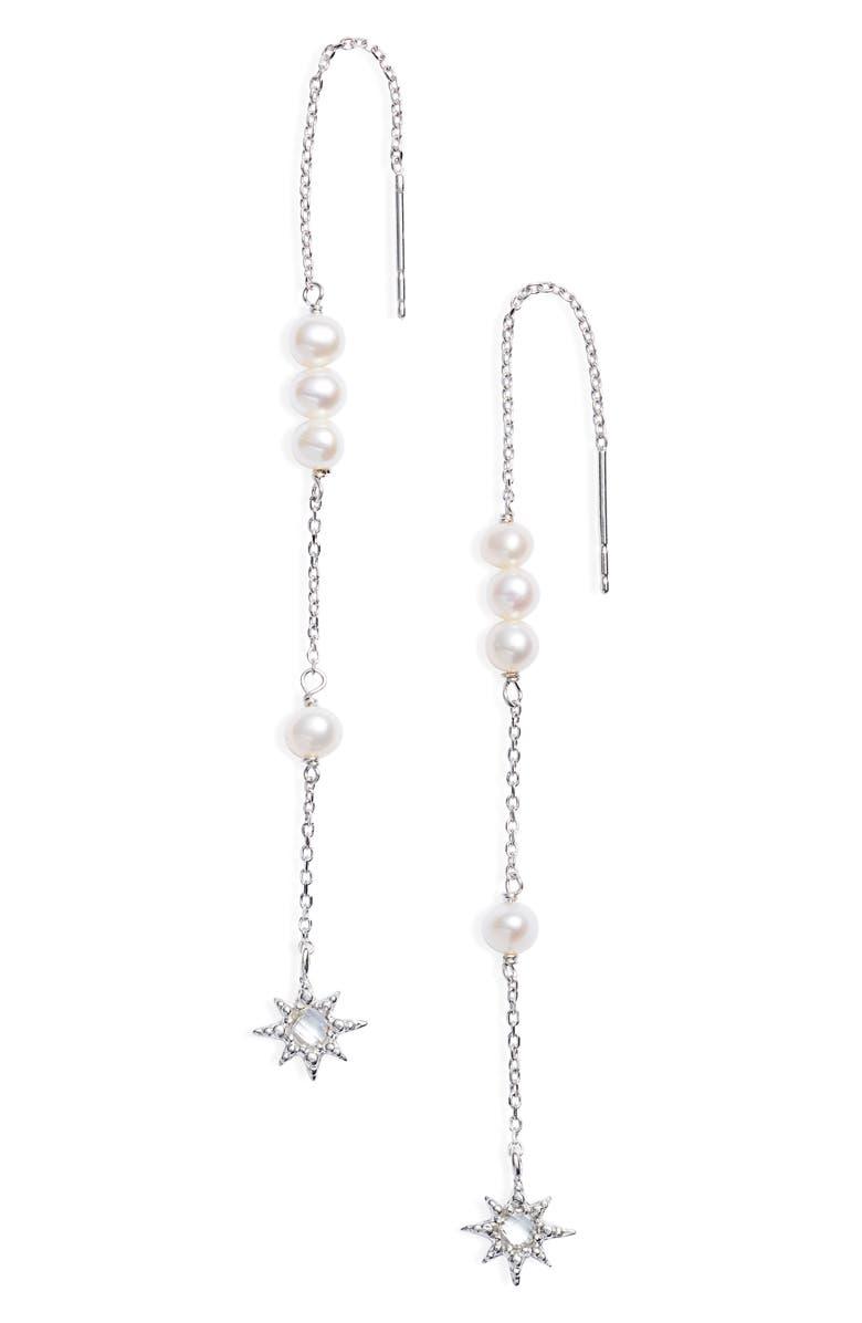ANZIE Dew Drop Pearl Threader Earrings, Main, color, 040