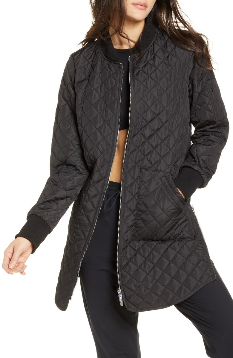 ZELLA Longline Quilted Bomber Jacket, Main, color, 001