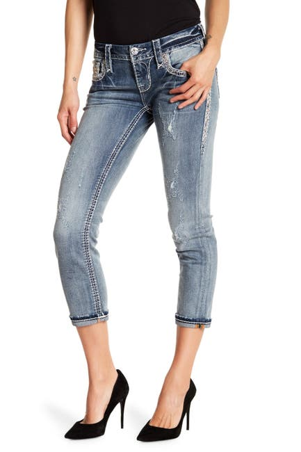 Image of Rock Revival Embroidered Cropped Skinny Jeans