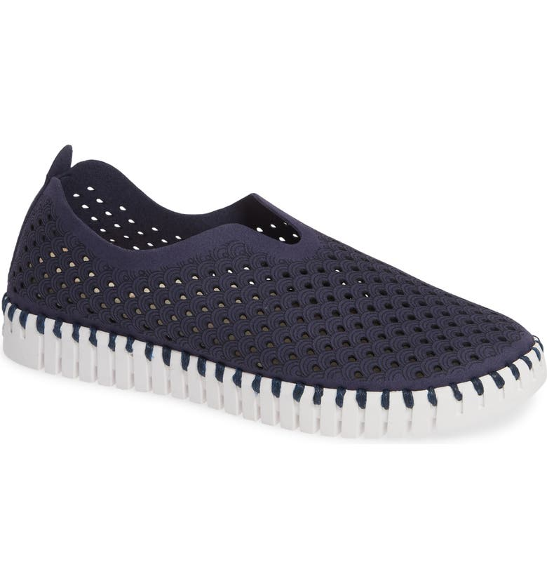 ILSE JACOBSEN Tulip 139 Perforated Slip-On Sneaker, Main, color, NAVY FABRIC