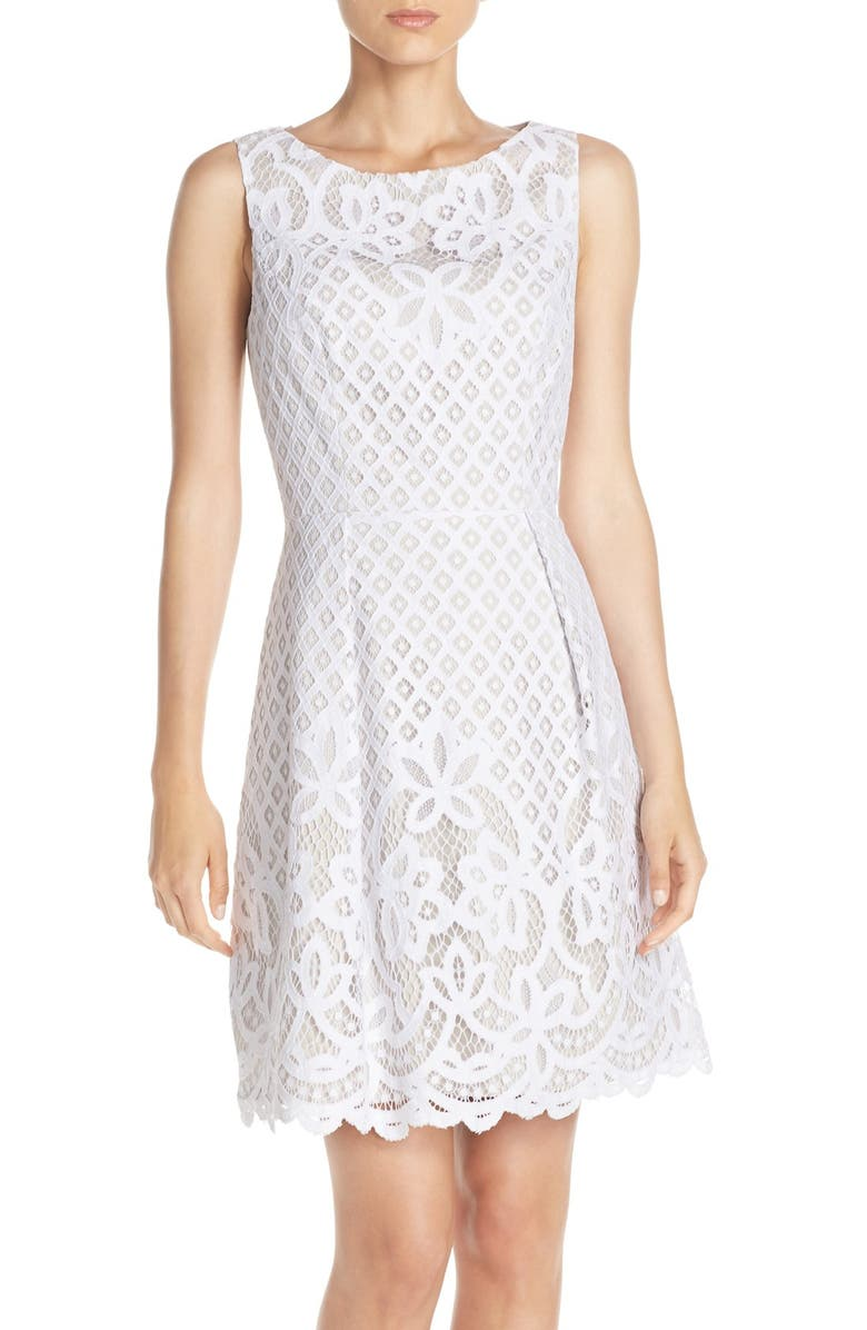 ADRIANNA PAPELL Lace Fit & Flare Dress, Main, color, 184