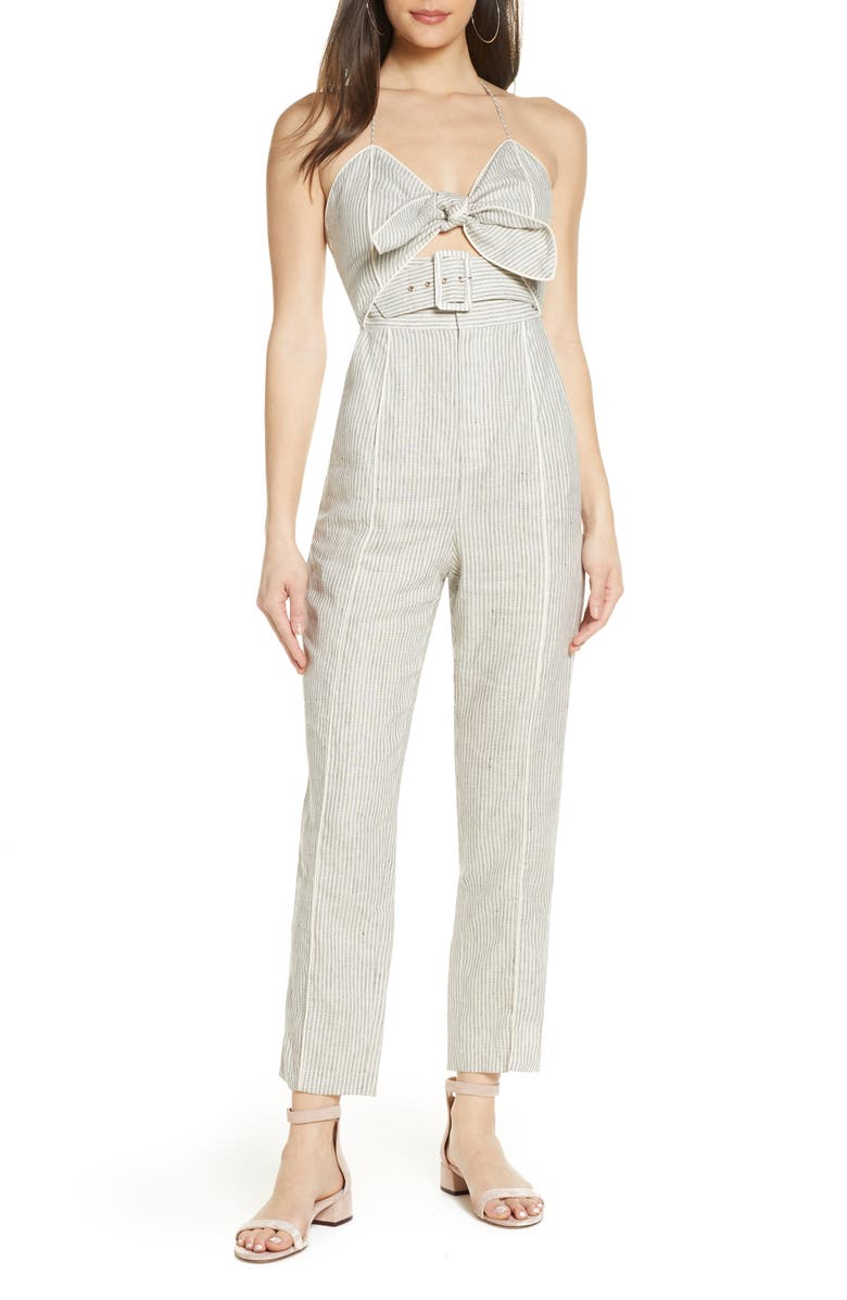 SIGNIFICANT OTHER Rockpool Tie Front Jumpsuit, Main, color, NATURAL STRIPE
