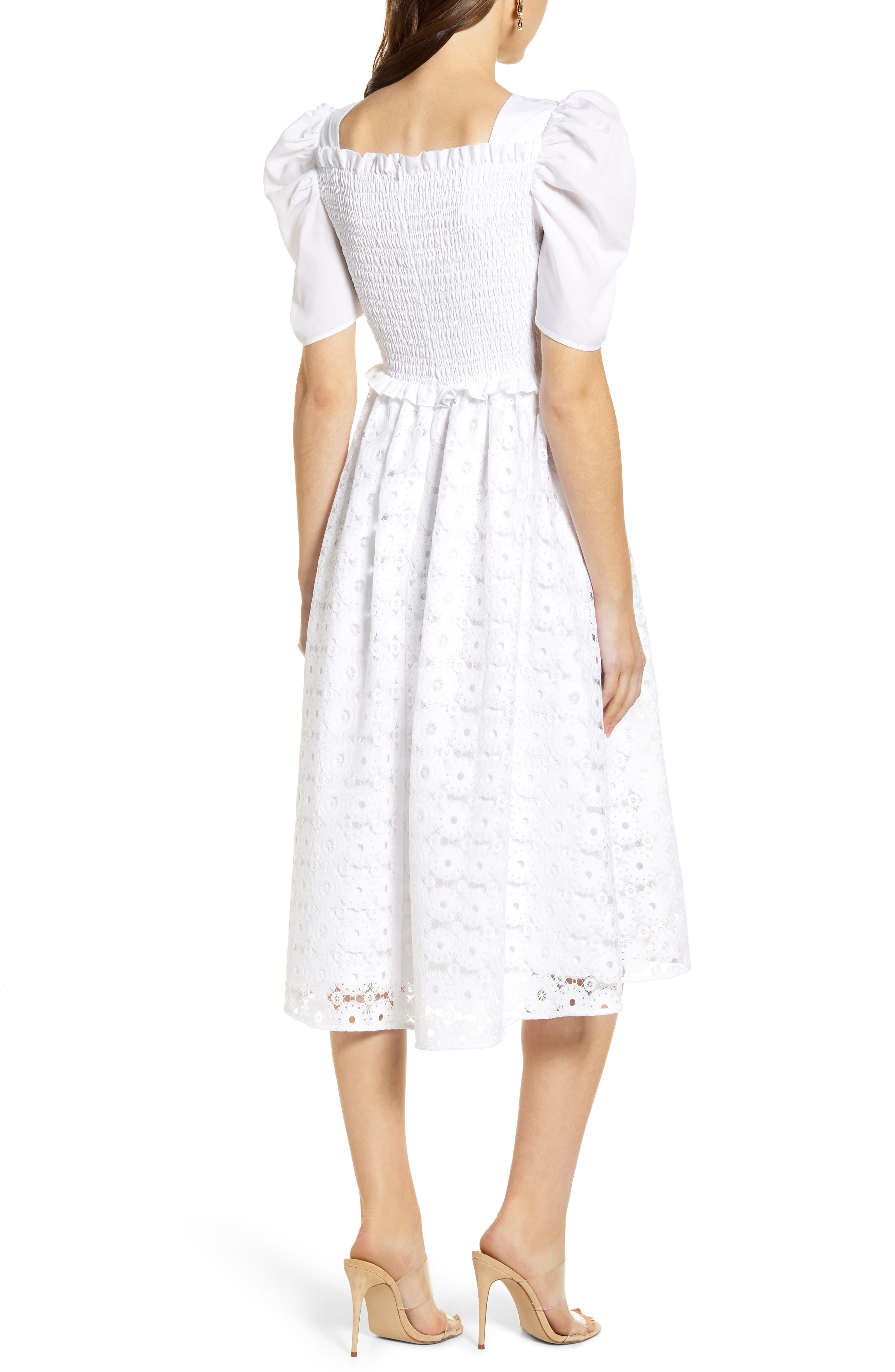 ,                             Smocked Waist A-Line Dress,                             Alternate thumbnail 2, color,                             WHITE