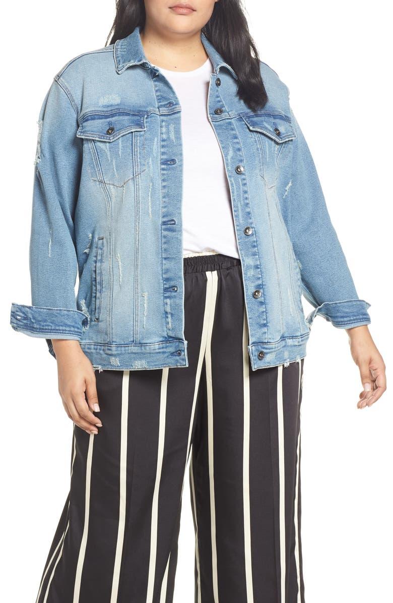 MAXSTUDIO INDIGO Perfect Vintage Distressed Boyfriend Jacket Plus Size