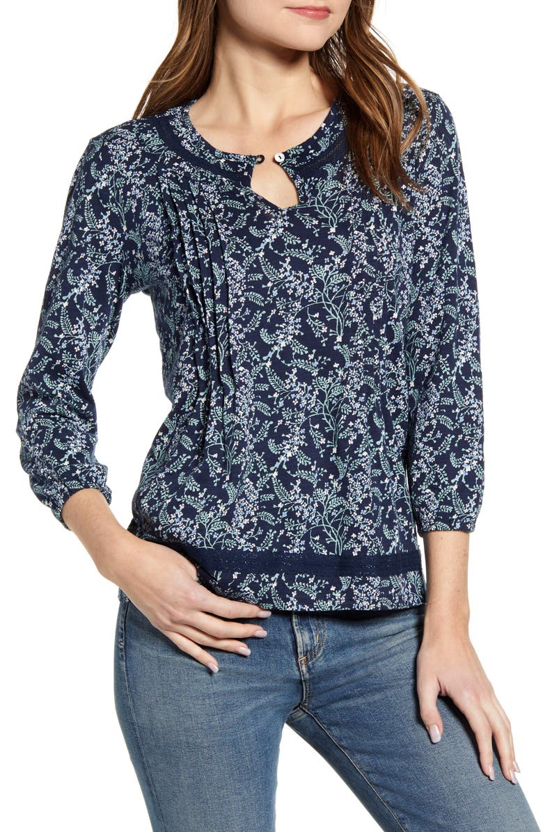 LUCKY BRAND Floral Pintuck Cotton Peasant Blouse, Main, color, 400