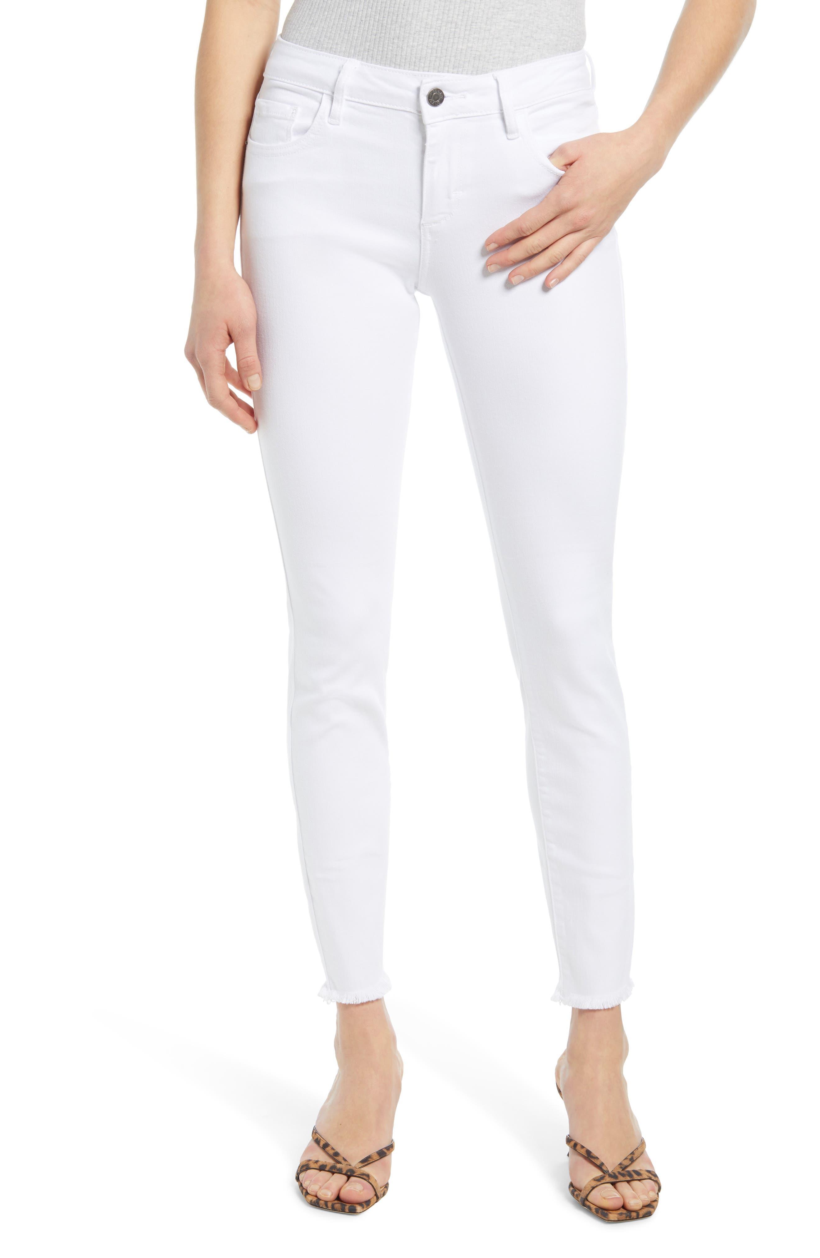 Clean Fray Hem Skinny Jeans