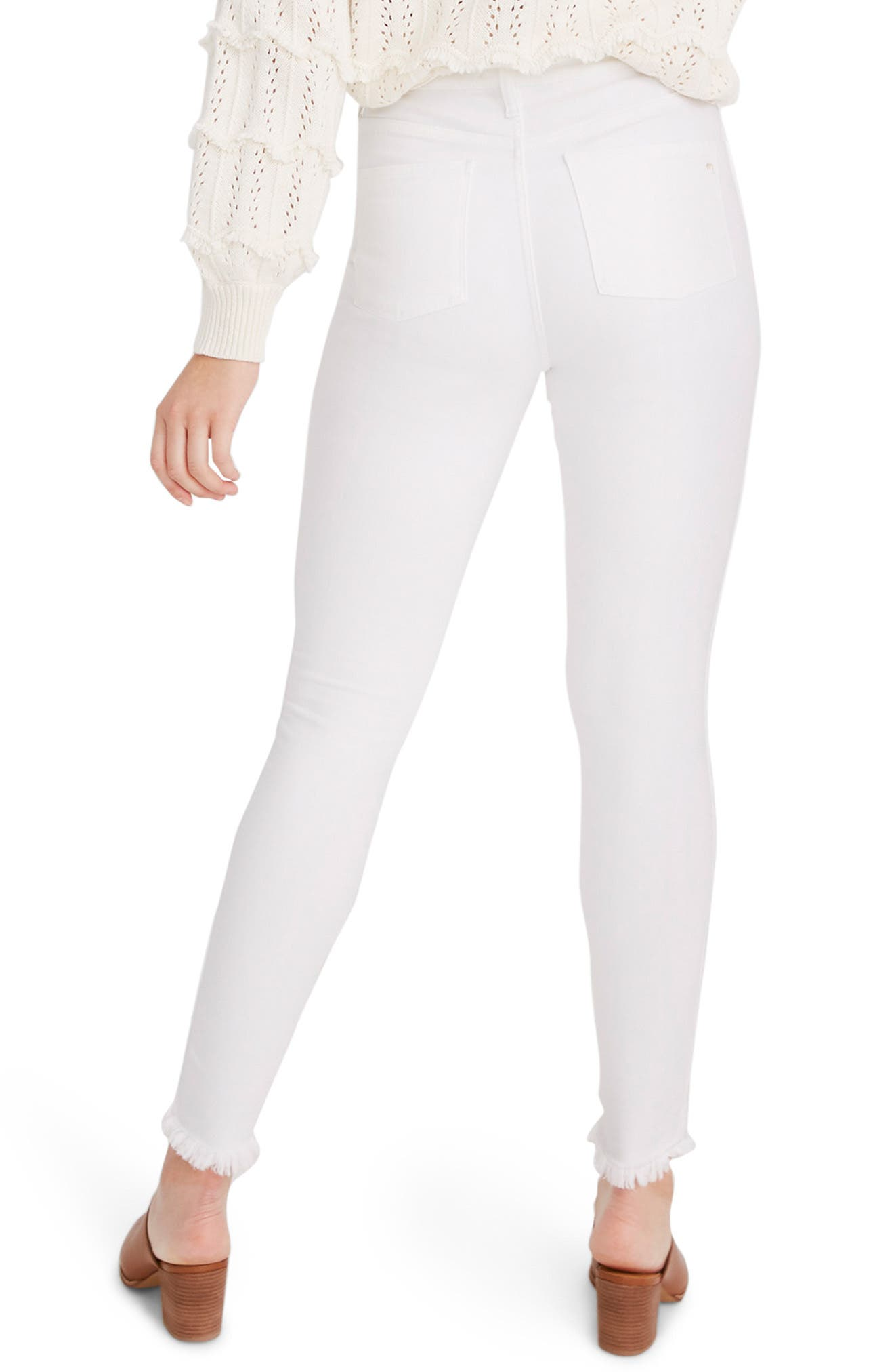 ,                             10-Inch High Waist Button Front Ankle Skinny Jeans,                             Alternate thumbnail 5, color,                             PURE WHITE