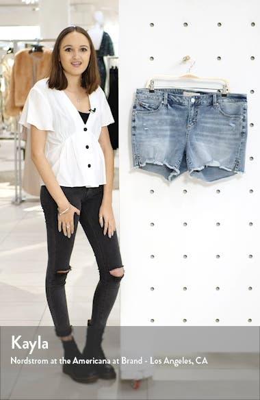 Easy Fit Distressed Frayed Hem Denim Shorts, sales video thumbnail