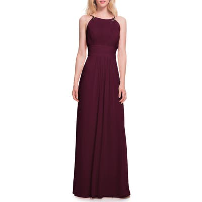 #levkoff Low Back Pleated Chiffon Gown, Burgundy