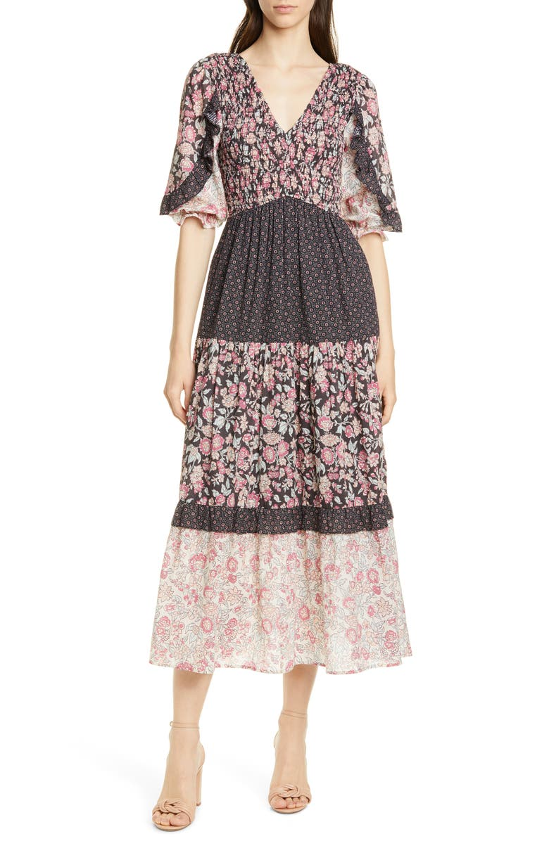 LA VIE REBECCA TAYLOR Floral Pattern Mix Cotton Dress, Main, color, SOFT BLACK COMBO
