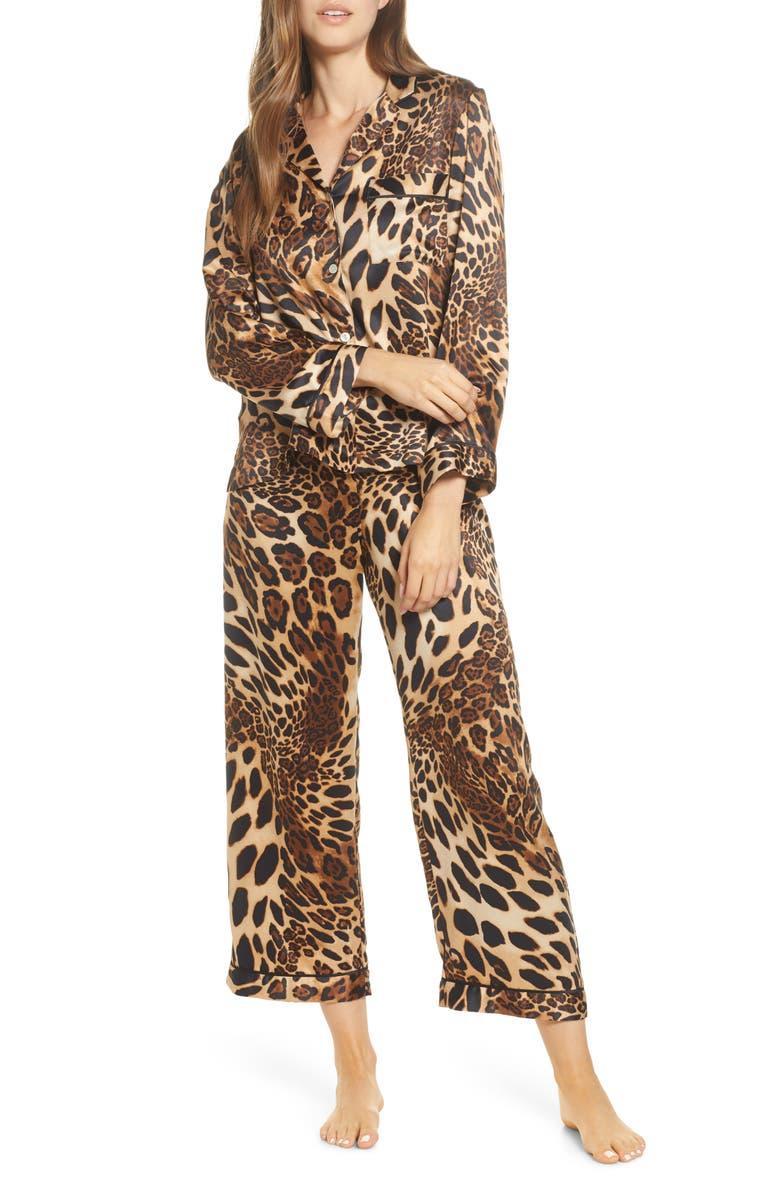 NATORI Leopard Print Satin Pajamas, Main, color, 200