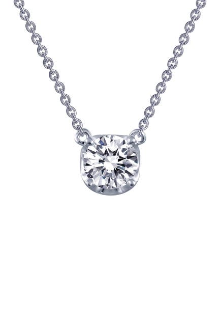 Image of LaFonn Platinum Plated Sterling Silver Simulated Diamond Solitaire Necklace