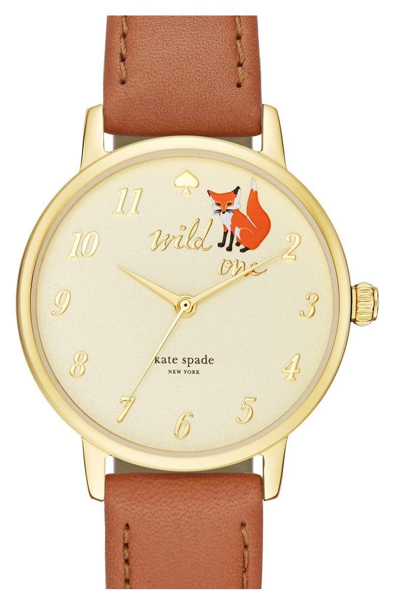KATE SPADE NEW YORK kate spade new york 'metro - wild one' leather strap watch, 34mm, Main, color, 200