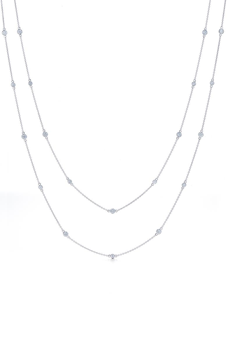KWIAT Diamond Strings Long Station Necklace, Main, color, WHITE GOLD