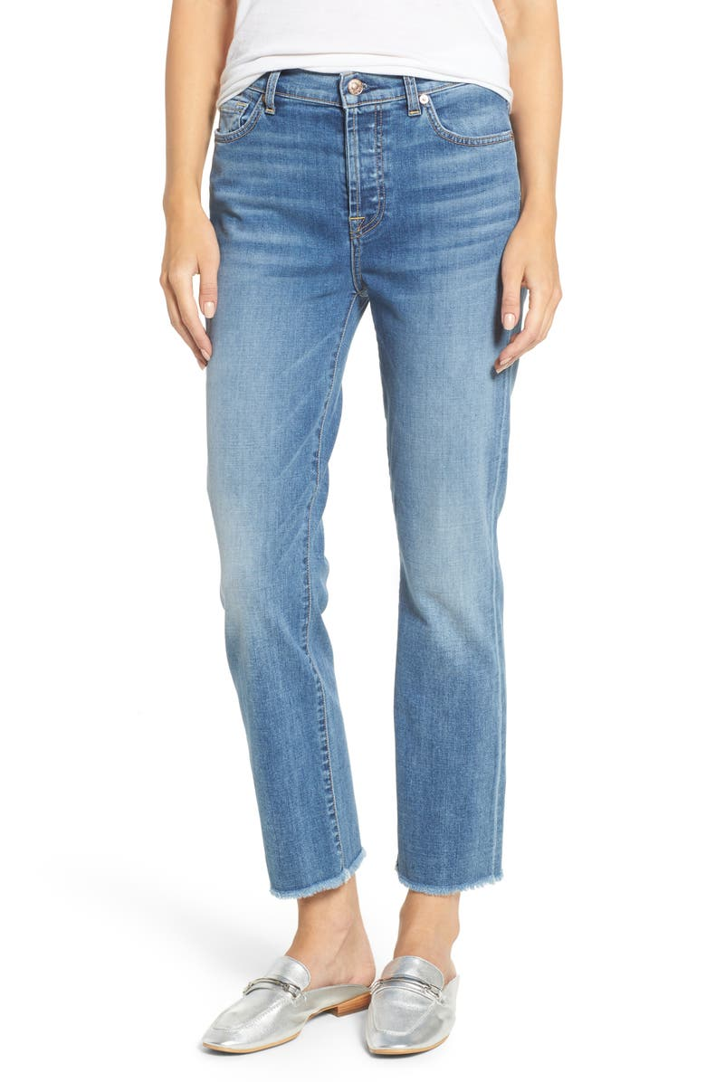 7 FOR ALL MANKIND<SUP>®</SUP> Edie High Waist Crop Straight Leg Jeans, Main, color, 400