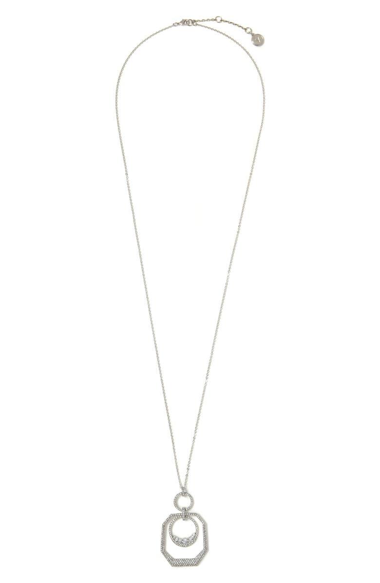 VINCE CAMUTO Long Orbital Pendant Necklace, Main, color, SILVER
