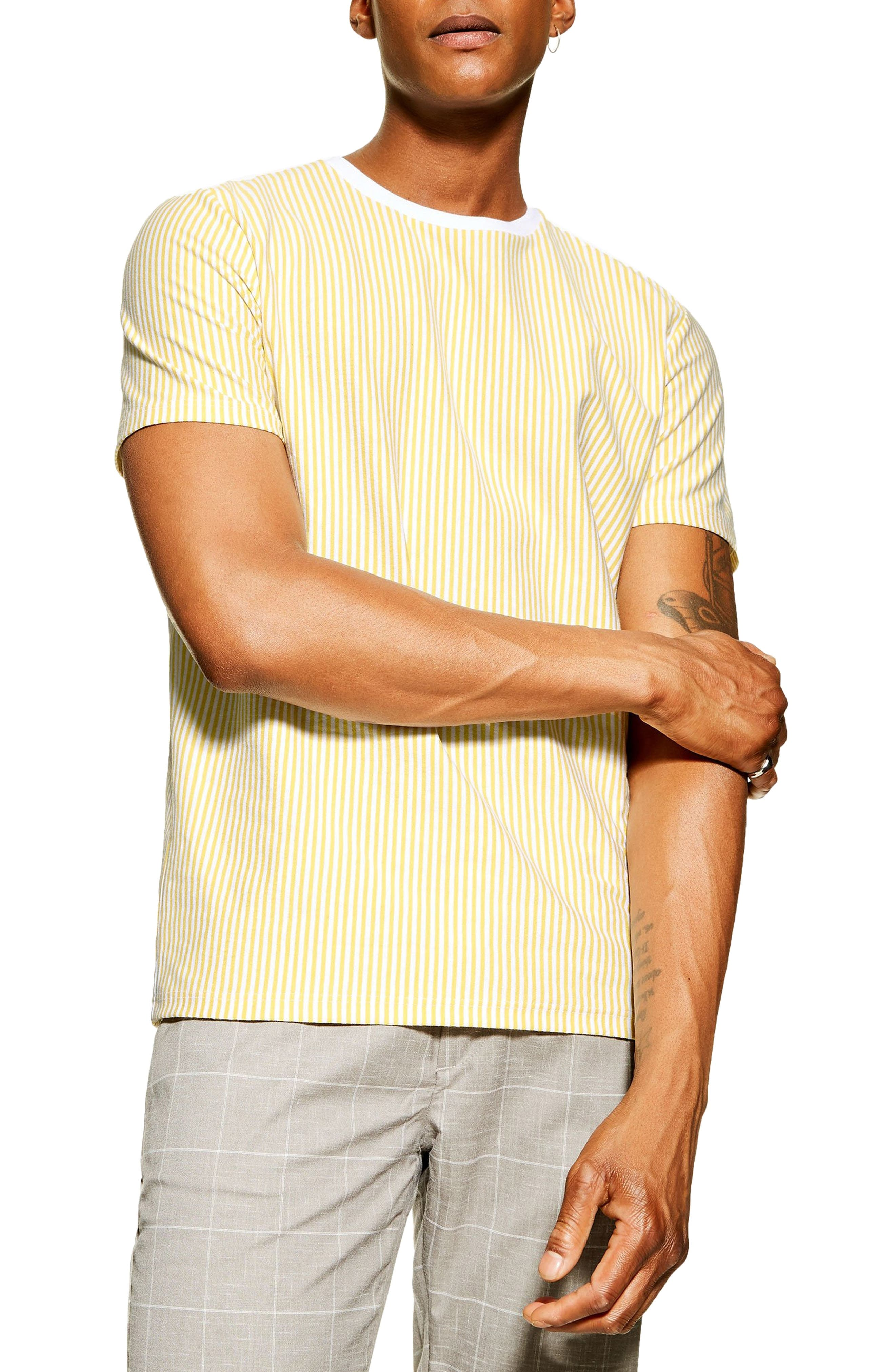 1940s Style Mens Shirts, Sweaters, Vests Mens Topman Vertical Stripe T-Shirt Size X-Large - Yellow $30.00 AT vintagedancer.com