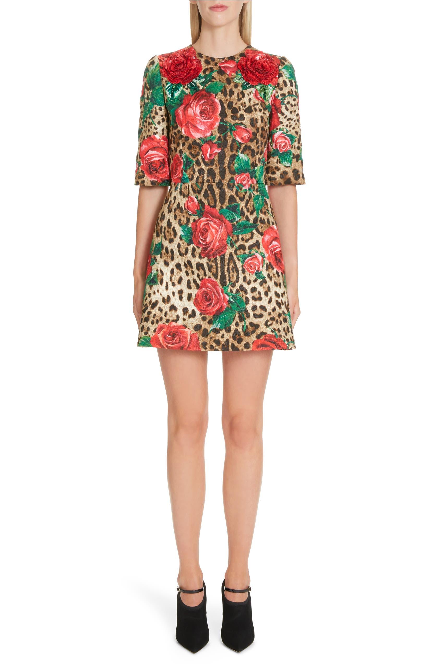 d77981e6a49 Dolce&Gabbana Embellished Rose & Leopard Print Brocade Dress | Nordstrom