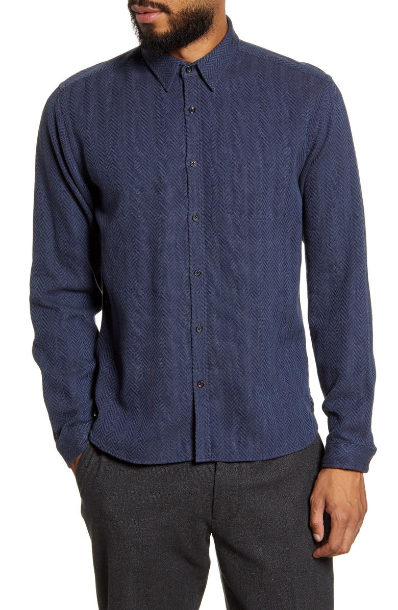 OLIVER SPENCER New York Special Slim Fit Herringbone Button-Up Shirt, Main, color, CAHILL NAVY