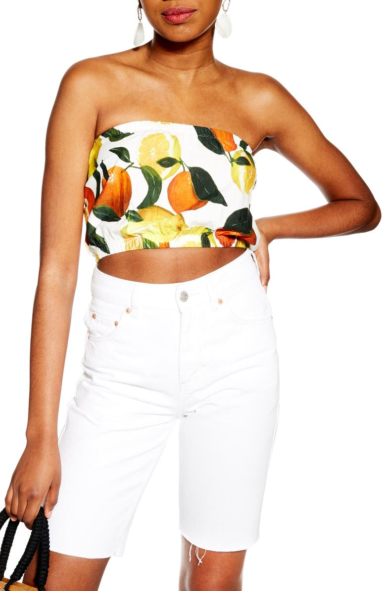 TOPSHOP Fruit Bandeau Top, Main, color, 100