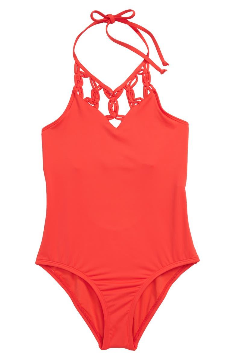 HOBIE Macramé One-Piece Swimsuit, Main, color, WAT