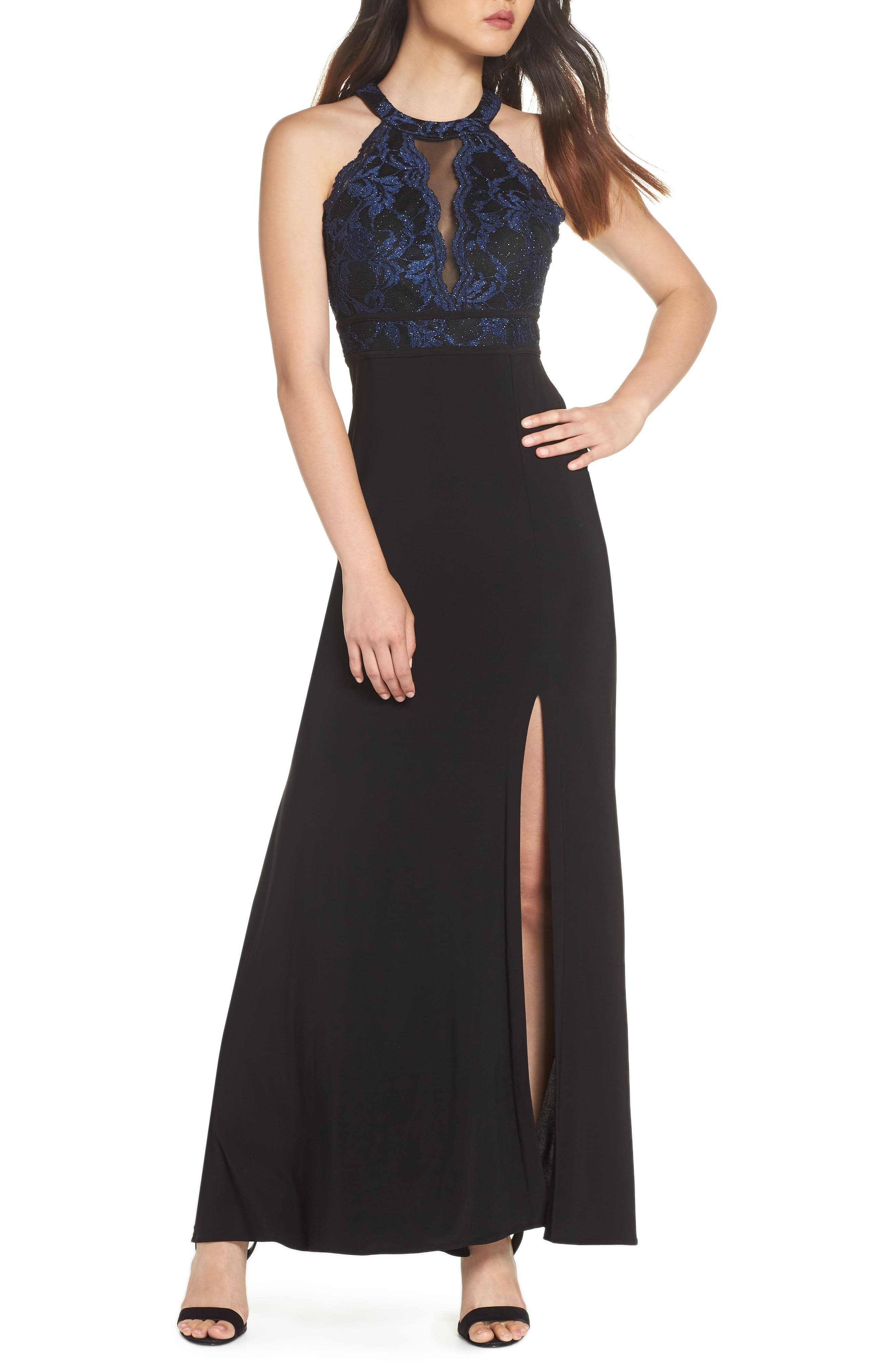 Morgan & Co. Lace Bodice Knit Gown, /4 - Black