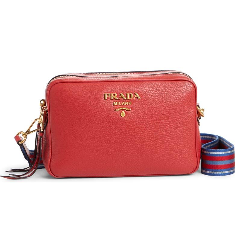 PRADA Vitello Daino Leather Camera Bag, Main, color, ROSSO