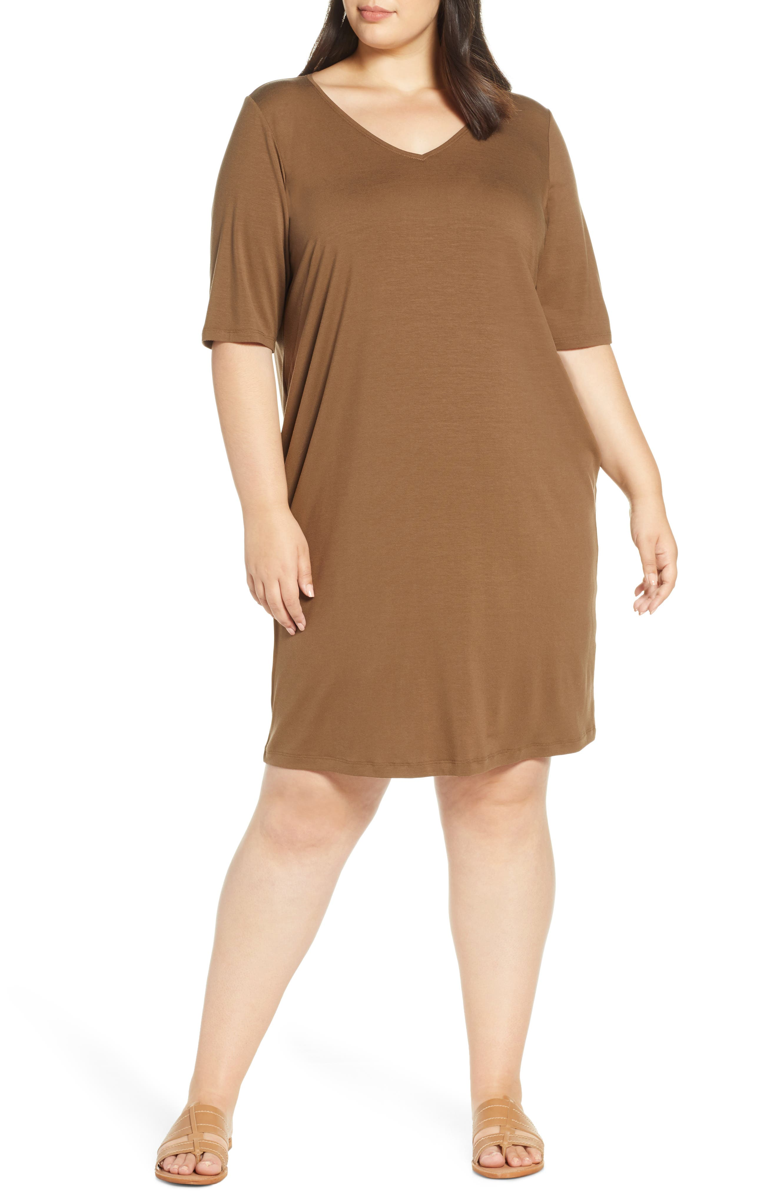 Plus Size Eileen Fisher V-Neck Shift Dress, Brown