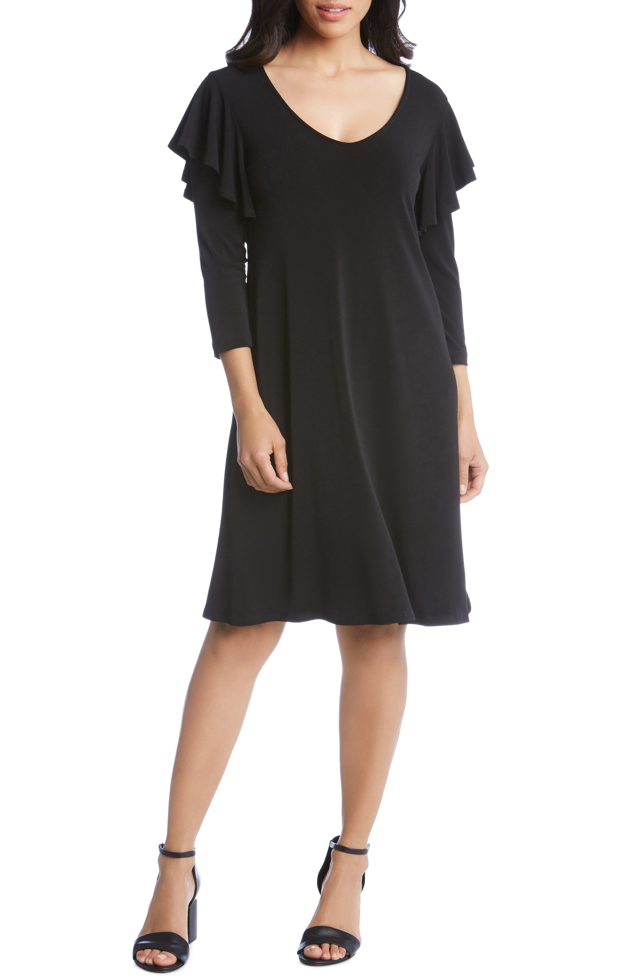 Karen Kane Ruffle Sleeve A-Line Dress, Black