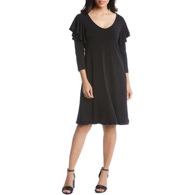 Karen Kane Ruffle Sleeve A-Line Dress, Black