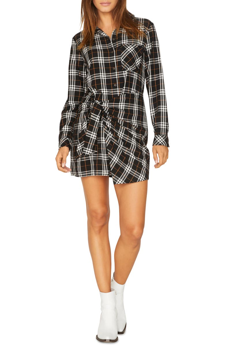 SANCTUARY Ani Plaid Tie Waist Shirtdress, Main, color, 001