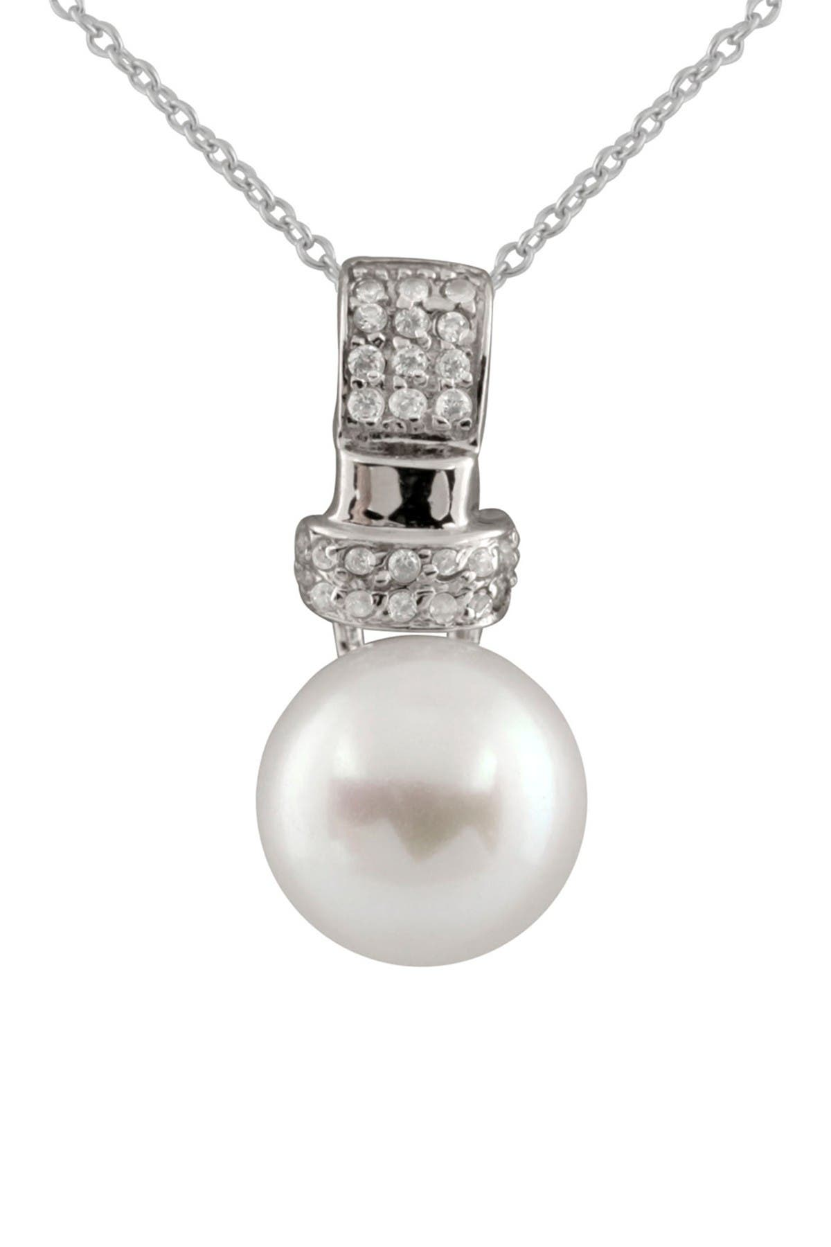 Image of Splendid Pearls 9-10mm White Freshwater Pearl & CZ Pendant Necklace