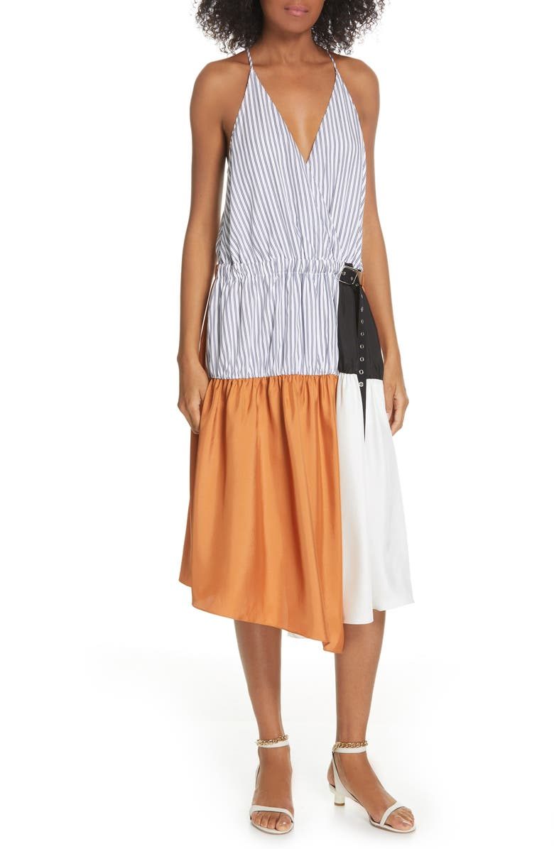 TIBI Camille Collage Faux Wrap Dress, Main, color, 200