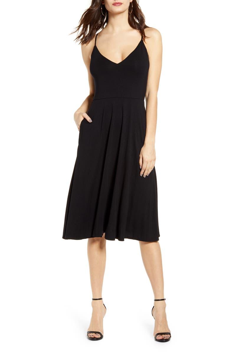 SOCIALITE Strappy Sleeveless Sundress, Main, color, BLACK