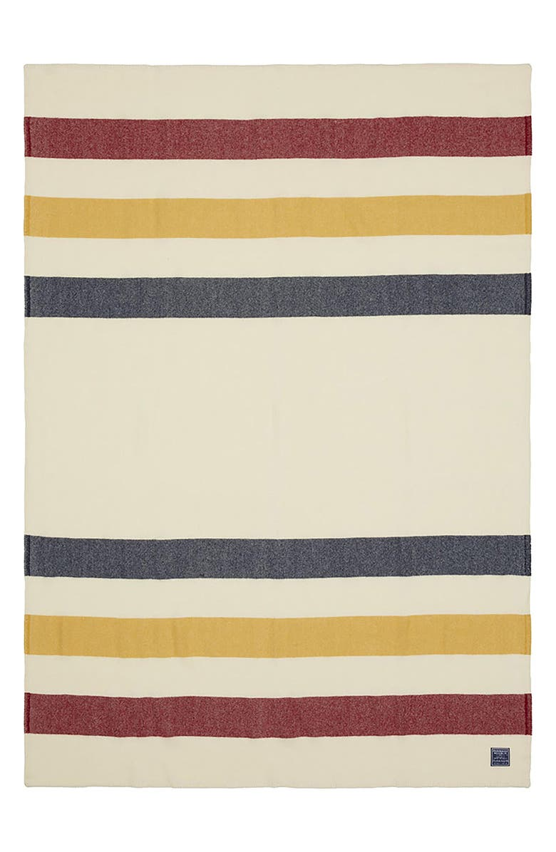 FARIBAULT WOOLEN MILL Revival Wool & Cotton Throw, Main, color, BONE