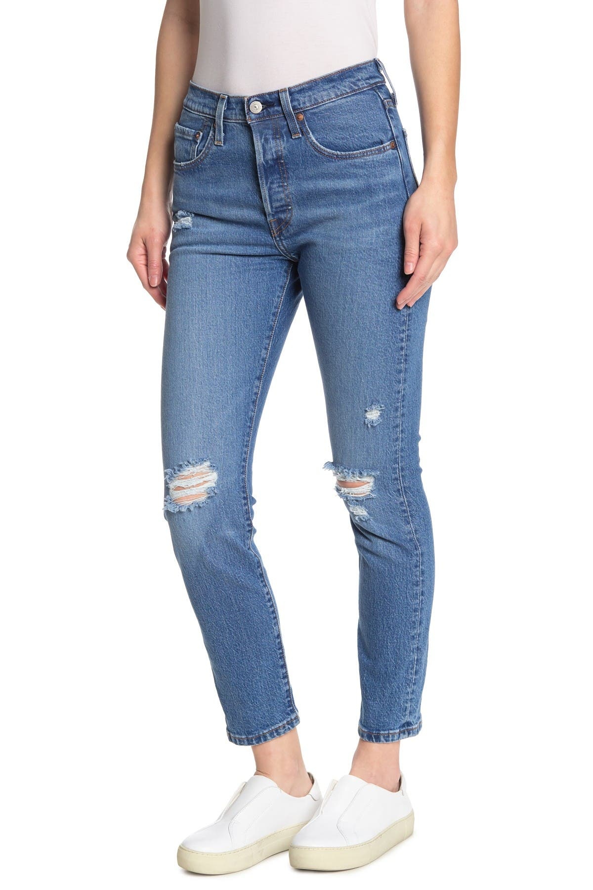 Image of Levi's 501 Distressed  Skinny Jeans