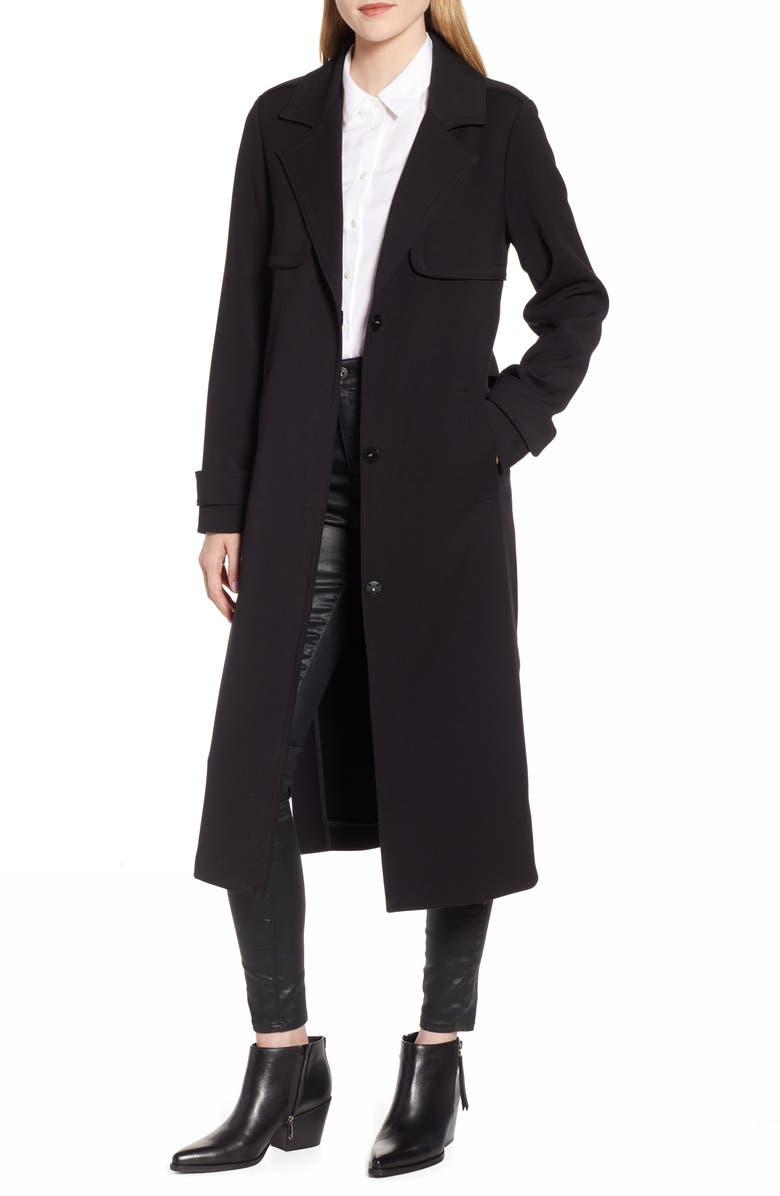 KENNETH COLE NEW YORK Ponte Trench Coat, Main, color, 001