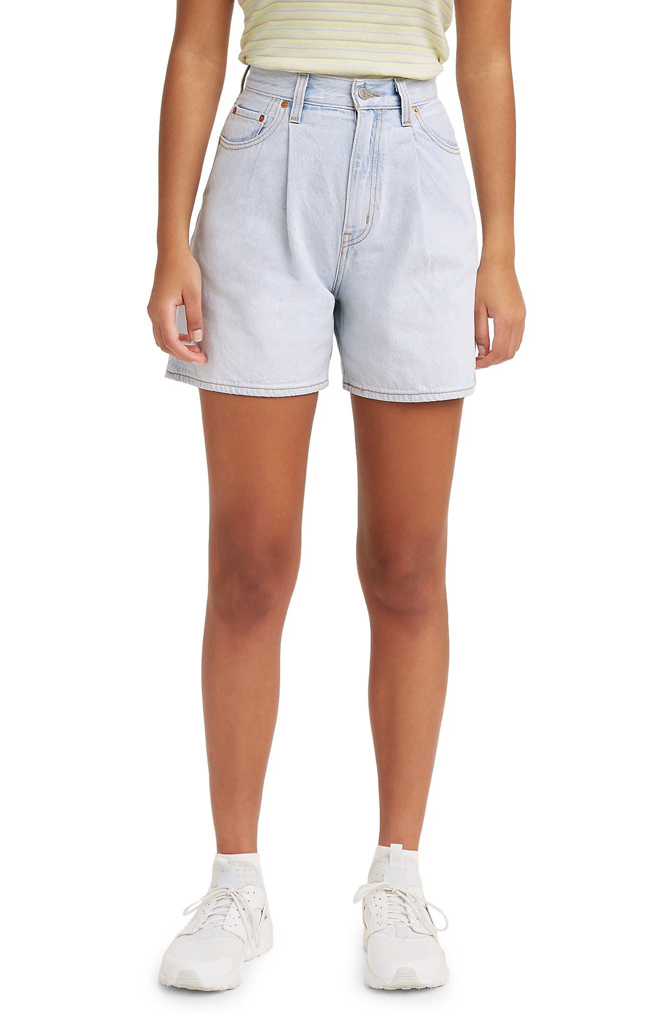 Vintage Shorts, Culottes,  Capris History Womens LeviS Pleated Ribcage Denim Shorts Size 29 - Blue $79.50 AT vintagedancer.com