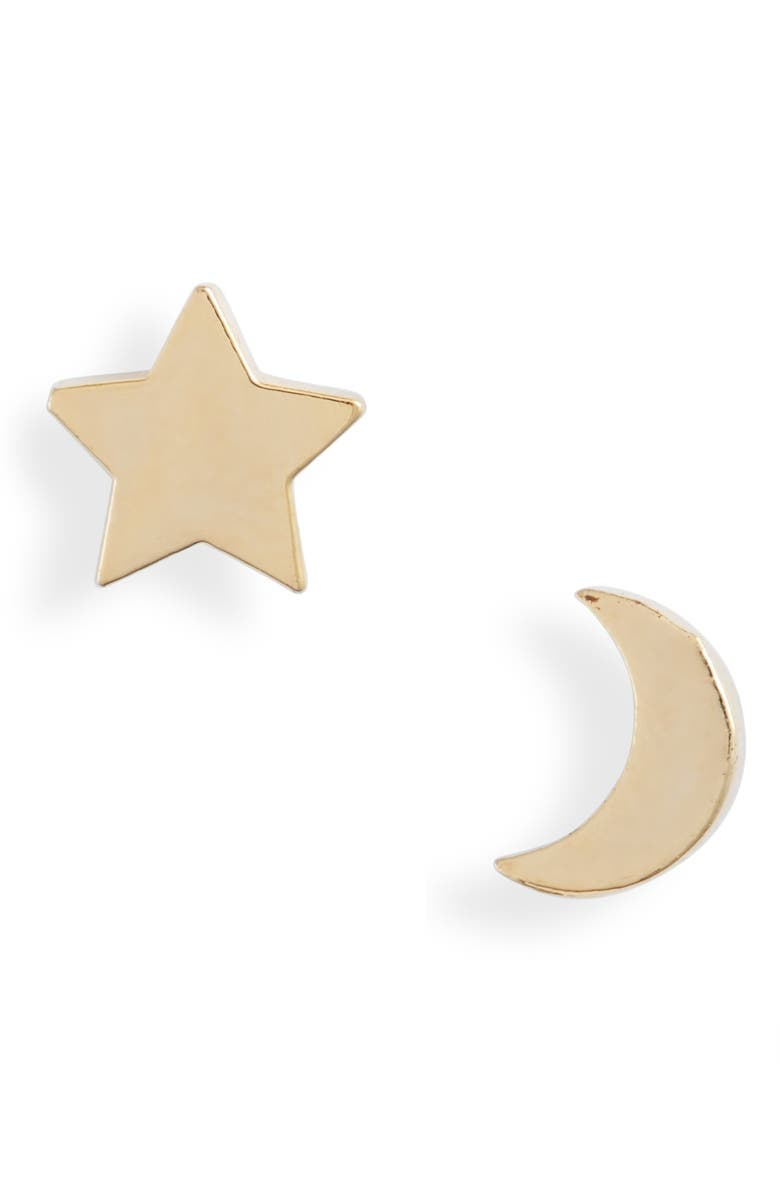 ESTELLA BARTLETT Mismatched Star & Moon Stud Earrings, Main, color, GOLD