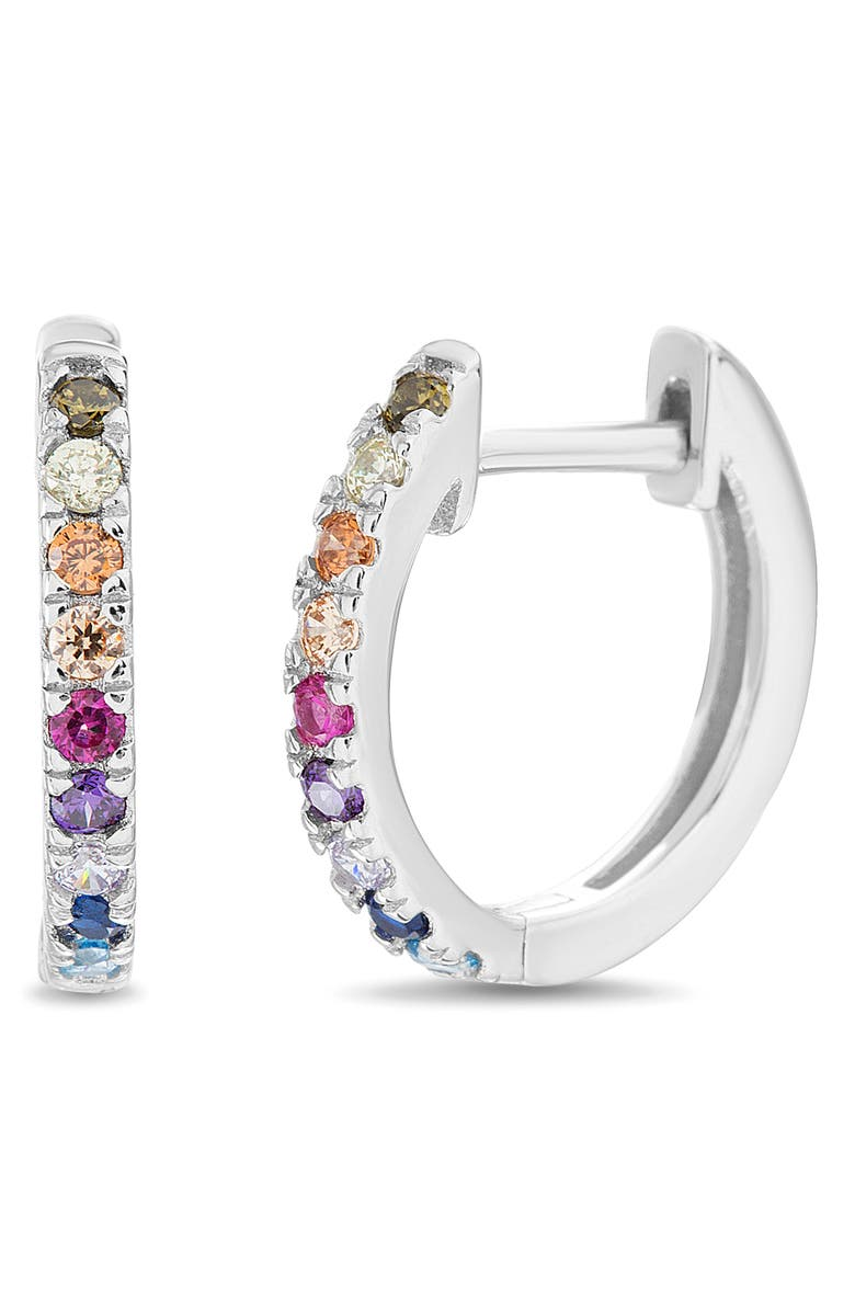 LESA MICHELE Huggie Hoop Earrings, Main, color, SILVER/ MULTI