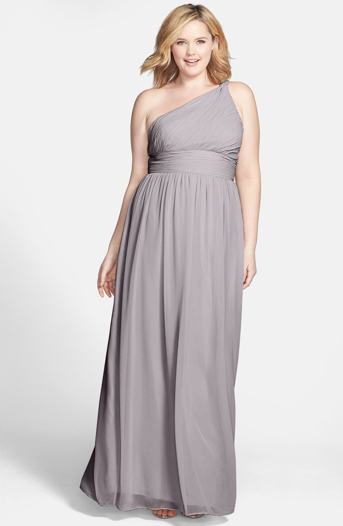 ,                             'Rachel' Ruched One-Shoulder Chiffon Gown,                             Alternate thumbnail 16, color,                             025