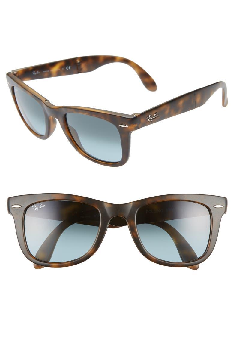 55e5504c6 'Folding Wayfarer' 50mm Sunglasses, Main, color, MATTE HAVANA '